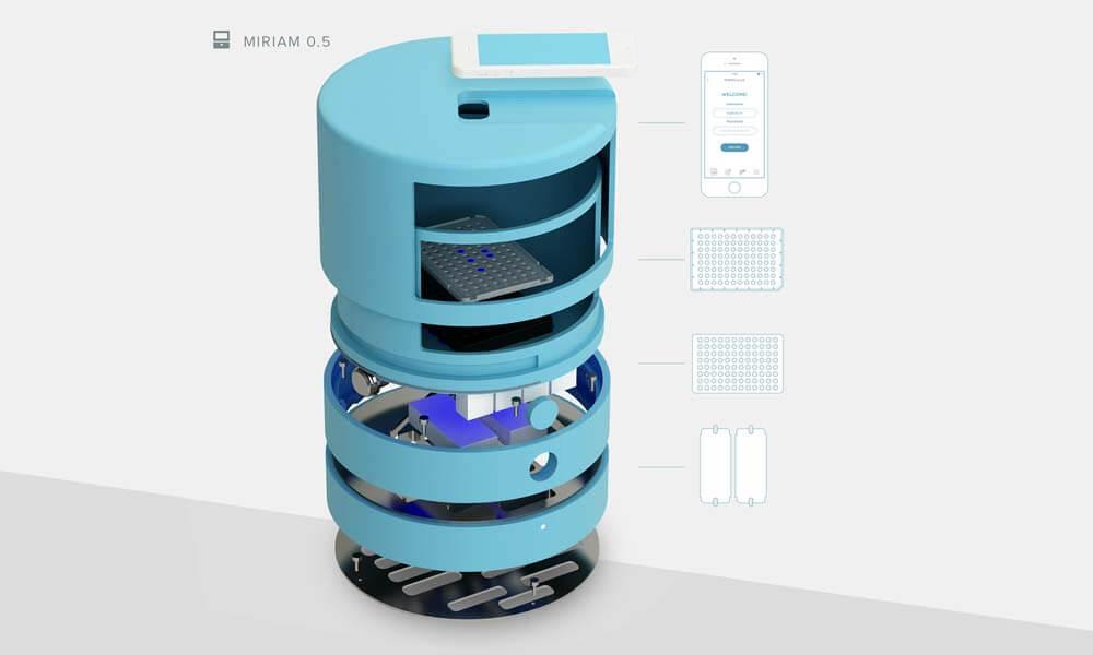 Interior del dispositivo de detección de cáncer de estómago desarrollado por Miroculus