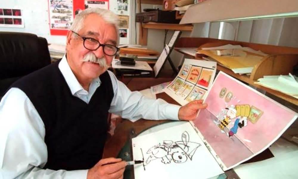Bill Melendez realizando animaciones de Peanuts