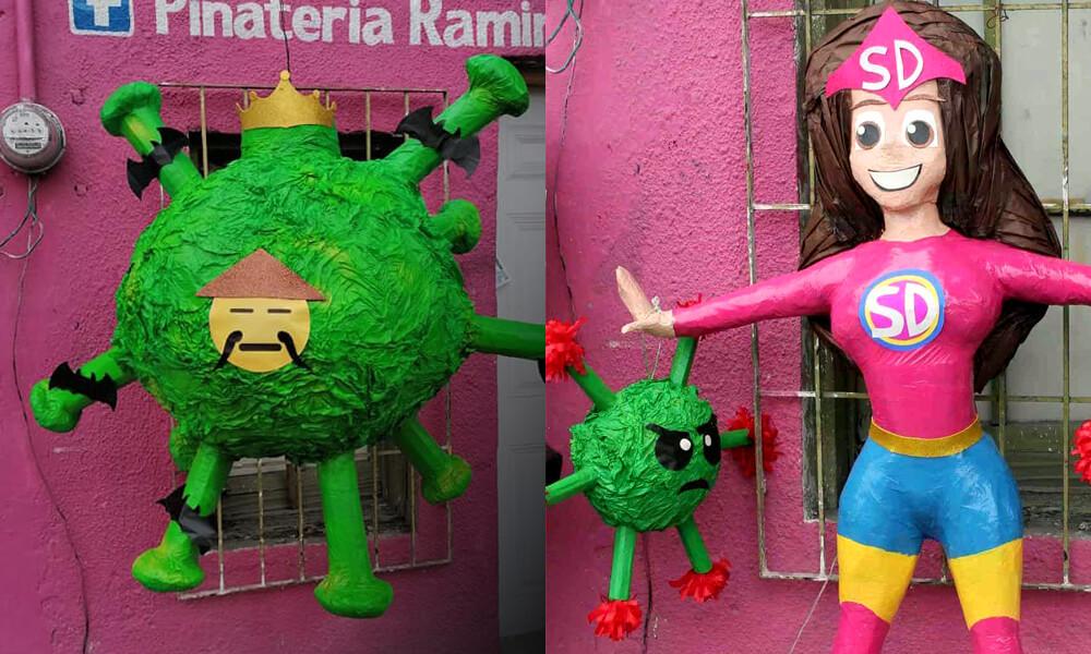 Piñatería Ramírez y sus creaciones de coronavirus