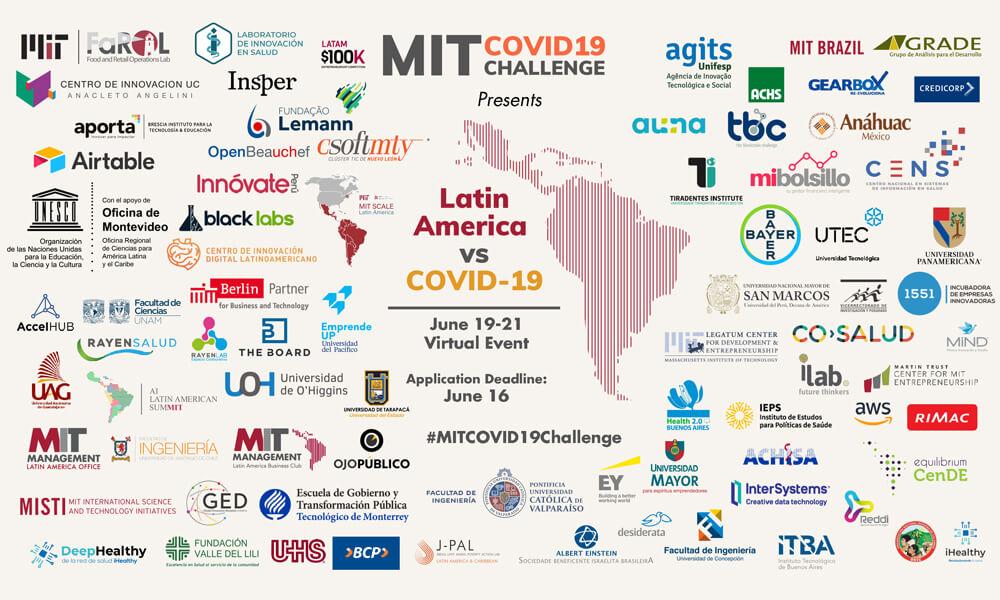 Instituciones y empresas participantes del Hackathon Latin American vs. COVID-19, del MIT