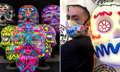 Cubrebocas y caretas con motivos mexicanos hechos por taller de artes plásticas El Volador, inspirados en el Día de Muertos